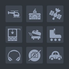 Premium set of fill icons. Such as home, fun, internet, bucket, leisure, house, city, water, skate, bank, photo, aircraft, picture, vehicle, transport, automobile, technology, well, heater, music, air