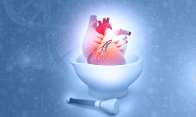Human heart on Mortar. 3d illustration.