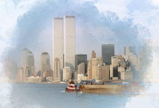 Digital artwork illustration of the World Trade Center on February 1988