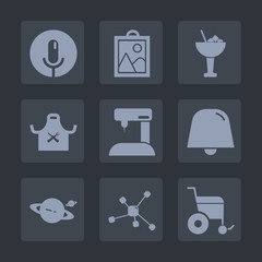 Premium set of fill icons. Such as molecule, ice, audio, handicap, wheelchair, atom, photo, bar, sign, beverage, lemon, tailor, sewing, fashion, drink, chief, food, music, sew, cocktail, glass, head