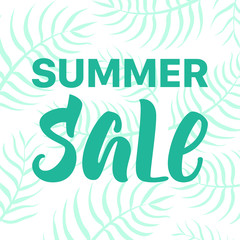 Green Summer SALE banner with palm leaves on background.