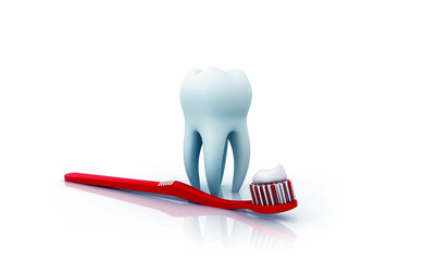 Teeth with toothpaste and toothbrush. 3d illustration .