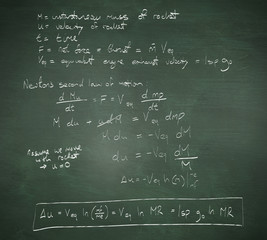 Rocket science theory against green chalkboard