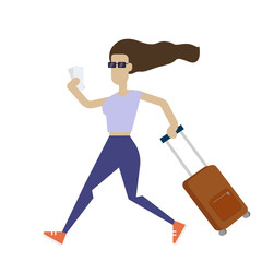 Young woman running with a suitcase. Stylish girl with a luggage bag. Traveling concept. Vector illustration in flat style
