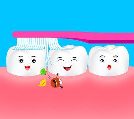 Happy cartoon tooth character with toothbrush. Remove bacteria in human mouth. Dental care concept, Illustration.