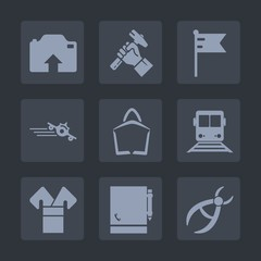 Premium set of fill icons. Such as notebook, national, america, sale, travel, page, , asia, picture, upload, camera, train, transportation, country, foreman, dentistry, costume, kimono, flight, usa