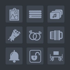 Premium set of fill icons. Such as image, business, web, internet, call, flower, work, floral, diamond, picture, bouquet, hamburger, protection, alarm, file, blossom, document, burger, sandwich, photo