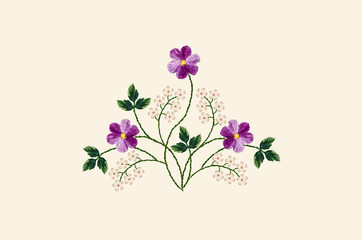 Light yellowish background with a pattern for embroidery satin stitch bouquet of purple violets and twigs with white flowers