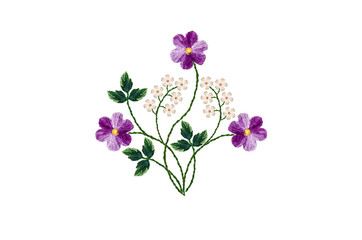 Embroidered with satin stitch bouquet of purple violets and twigs with white small flowers on white background