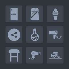 Premium set of fill icons. Such as black, salt, hair, strawberry, white, vacation, freezer, ingredient, button, hairdryer, media, care, journey, cold, tool, summer, cooking, technology, sign, interior