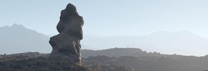 beautiful rock at sunset, unusual stone at sunrise, 3D rendering