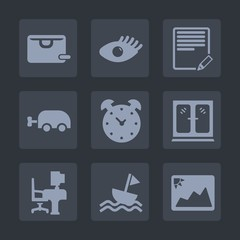 Premium set of fill icons. Such as carriage, clock, office, business, picture, bag, furniture, edit, girl, cabinet, nautical, frame, skin, sail, face, gift, alarm, write, model, yacht, document, baby