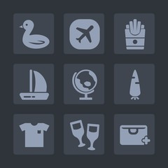 Premium set of fill icons. Such as ship, map, boat, meal, flight, lunch, carrot, bag, wildlife, red, food, sky, plane, new, globe, alcohol, snack, planet, air, add, global, wine, aircraft, nature, raw