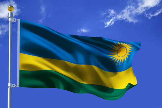 The silk waving flag of Rwanda with a flagpole on a blue sky background with clouds .3D illustration..