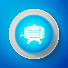 White Wooden barrel on rack with stopcock icon isolated on blue background. Circle blue button with white line. Vector Illustration