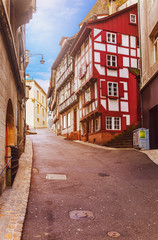 Street of historic Swiss town of Basel
