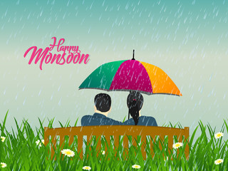 nice and beautiful abstract or poster for Monsoon with nice and creative design illustration.