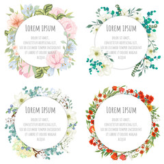 A set of round templates for congratulations, cards, invitations. Cards with flowers