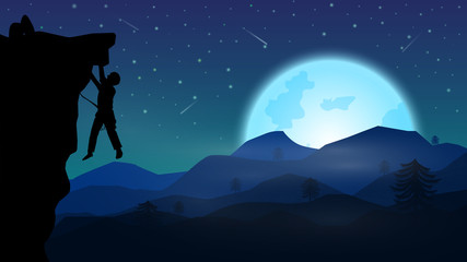 A man climbing mountain at night;night of full moon and star fall on sky;beautiful night landscape with pine silhouette background;fantasy background vector design