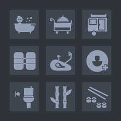 Premium set of fill icons. Such as kid, bathroom, white, bath, care, nature, equipment, fitness, caravan, restaurant, account, boy, add, bamboo, seafood, japan, shower, journey, cute, bicycle, public