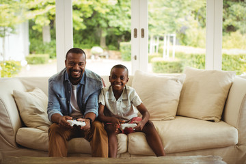 Portrait of father and son playing video game in living room