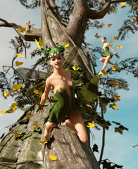 3d rendering of a happy fairies flying on a tree surrounded by flock butterflies