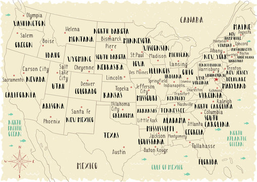 Illustrated map of USA. Line art