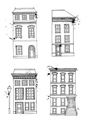 Set of a townhouse. Hand drawn vector illustration