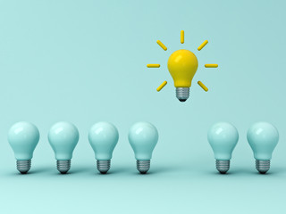 Think different concept , One yellow idea bulb standing out from the dim unlit light bulbs on blue pastel background with shadows , leadership and individuality creative idea concepts . 3D rendering.