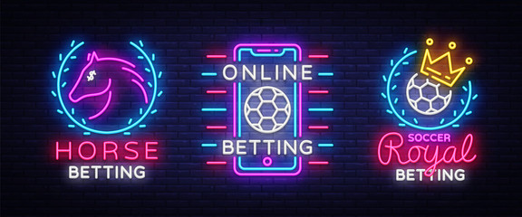 Betting Collection Logos in Neon Style. Set Neon signs Betting Sports, Horse, Soccer. Design Element. Betting Online, symbol, icon, emblem. Light banner, bright night advertising. Vector