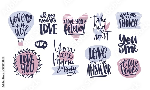 Bundle Of Trendy Valentine S Day Lettering Handwritten With Elegant Cursive Font Romantic Phrases