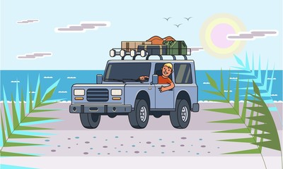SUV car with luggage on the roof and smiling guy behind the wheel on the beach by the sea. Off-road vehicle on the sunlit seascape. Sun, sea and automobile. Flat vector illustration. Horizontal.