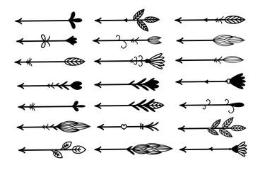 Rustic, boho arrows set vector