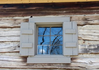 A close view on the glass window on the cabin.
