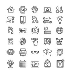 Smart Home Signs Black Thin Line Icon Set. Vector