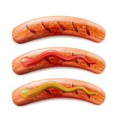 Vector realistic 3d illustration of grilled sausage with ketchup and mustard, isolated on white background.
