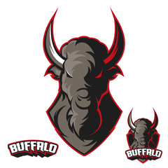 Team sport logo. Isolated Mascot Buffalo logotype.