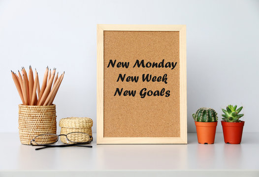New monday New week New goals Concept
