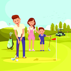 Illustration of Happy Family on Golf Course Playing Golf. Vector Image. Family at Leisure.