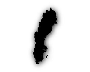 Karte von Schweden mit Schatten