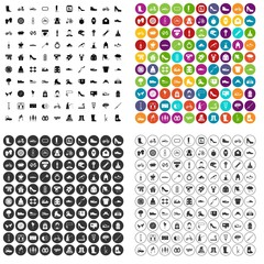 100 shoe icons set vector in 4 variant for any web design isolated on white