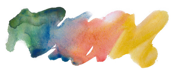 watercolor blue, red and yellow, multi-colored spot stain band. on white background isolated brush texture, uneven edges strip