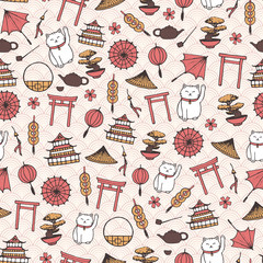 Hand drawn vector asian seamless pattern with umbrellas, japanese lucky cats, coins, lanterns, bonsai and torii gates on the oriental background with circles.