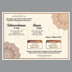 elegant wedding invitation with mandala ornament