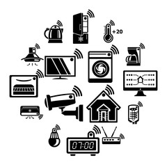 Smart home icons set. Simple illustration of 16 smart home vector icons for web
