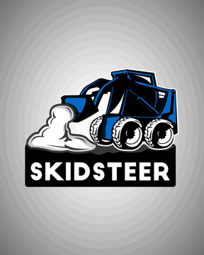 Skid steer ilustration logo design template