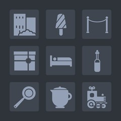 Premium set of fill icons. Such as train, pan, snack, utensil, box, popsicle, breakfast, gift, transport, equipment, architecture, house, construction, kitchen, tea, hot, dessert, business, technology