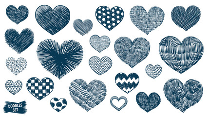 Hearts doodles set. Valentines day scrawl. Romantic stickers collection. Hand drawn effect vector. Wedding and marriage doodles. Love theme simple sketches. Hearts scribbles.