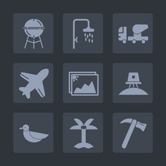 Premium set of fill icons. Such as plane, palm, grilled, animal, hammer, shower, nature, science, airplane, photo, grilling, fire, leaf, construction, bath, flight, meat, food, barbecue, image, frame