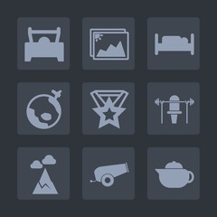 Premium set of fill icons. Such as drink, sky, teapot, landscape, furniture, home, automotive, car, cannon, medal, frame, white, tea, gun, vehicle, nature, world, old, mountain, blue, travel, sport